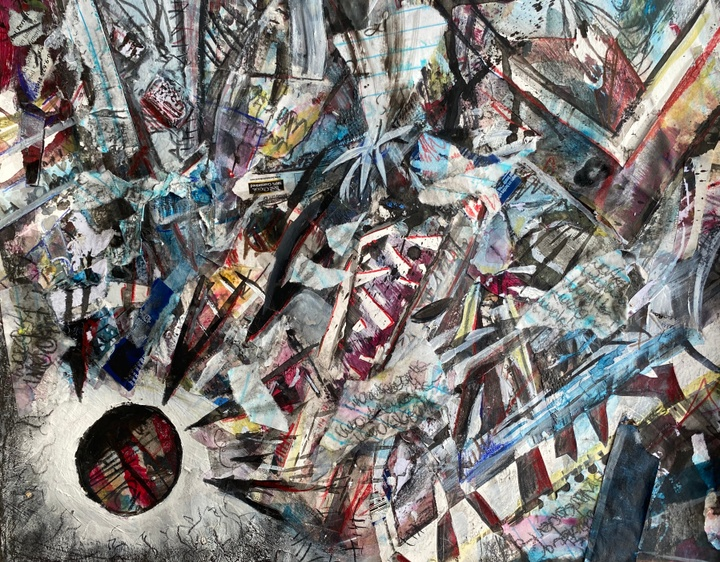 Frenetic-looking collage work with a mass of tangled, spiky shapes spearing towards a reddish circle in the bottom left corner.