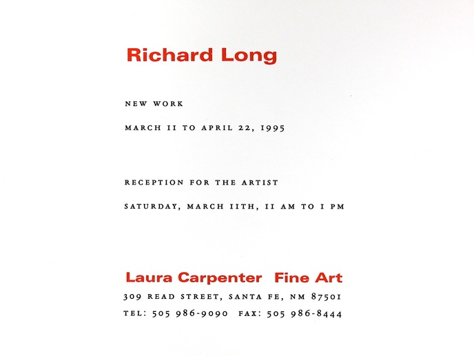 Richard Long : New Work, March 11 to April 22, 1995 [Pair of Invitation Cards] thumbnail 3