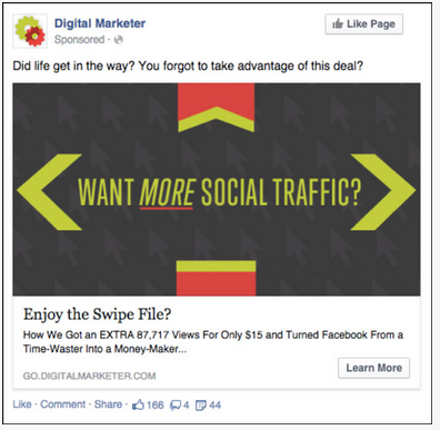 Facebook Retargeting Ads Example 2