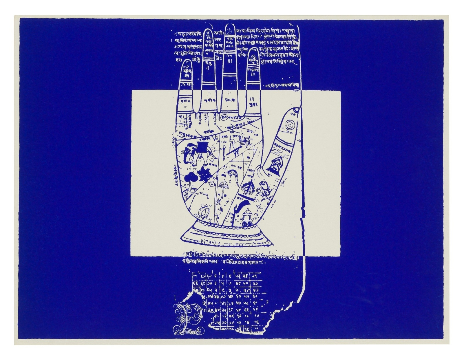 A blue and white screenprint of an open palm divided in sections covered with symbols from Hinduism. Above and below the hand are phrases in Sanskrit.