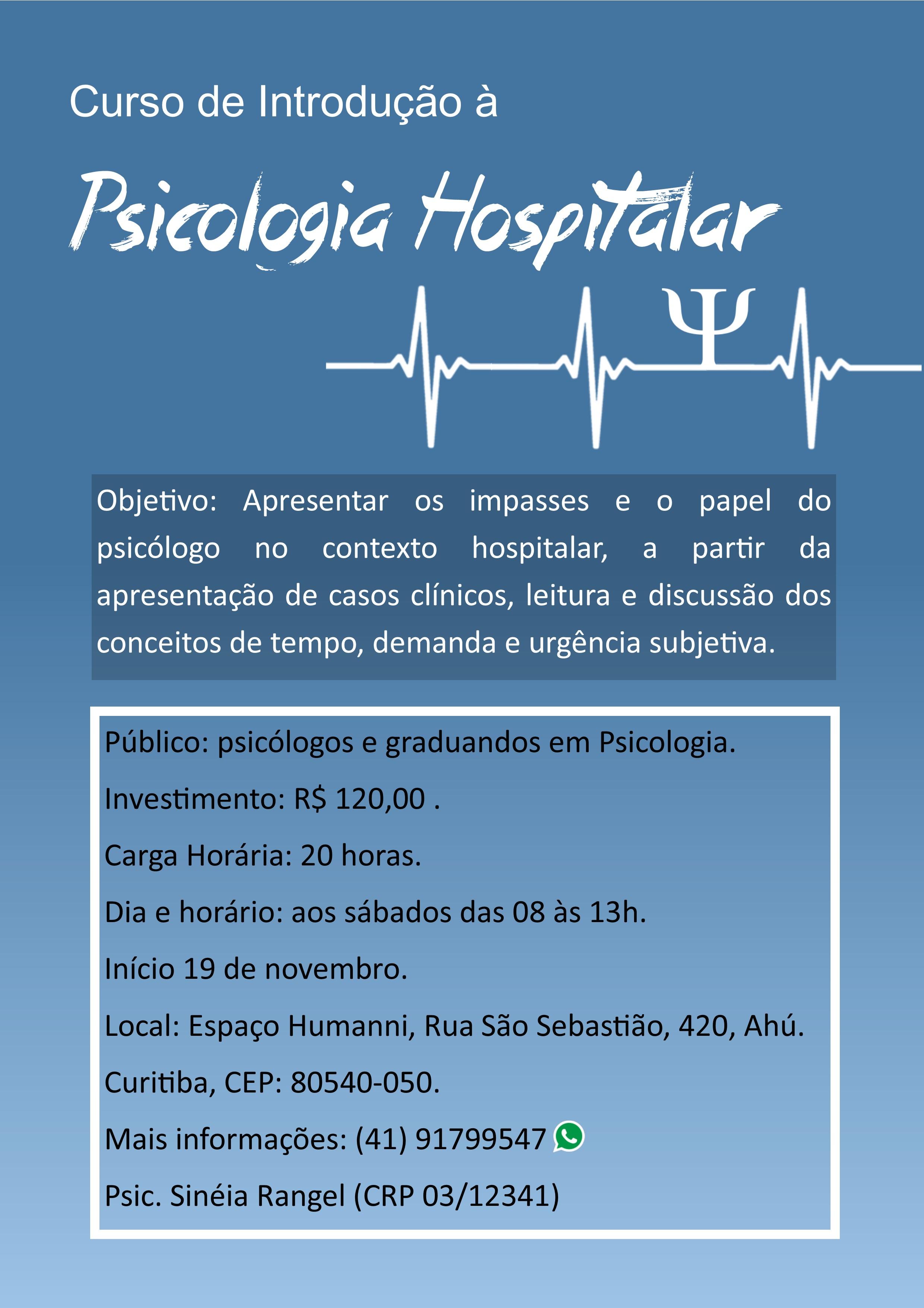 Curso de Introdução à Psicologia Hospitalar