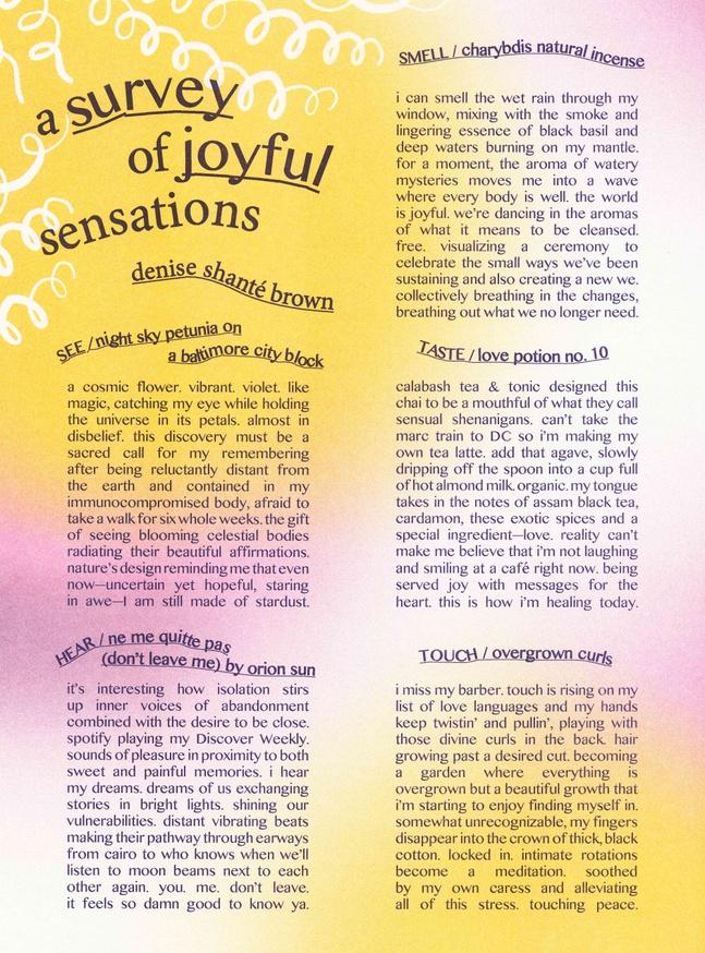 A Survey of Joyful Sensations