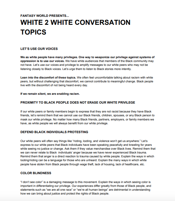 White 2 White Conversation Topics