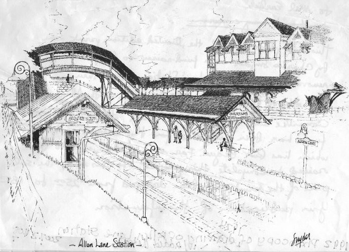 FIG. 3: Drawing of Allen Lane Station, by Charles Snyder, as published in the Philadelphia Inquirer and sold as prints in 1974 to raise funds for station preservation. Individual donations of $18 to $25 for the Allen Lane Station Restoration Project ultimately added up to $4,000 (1974 dollars or $20,880 in 2019 dollars)—double the Station Committee's fund-raising goal. Image courtesy of the Chestnut Hill Conservancy. Catalog No. 2007.2.408.7.