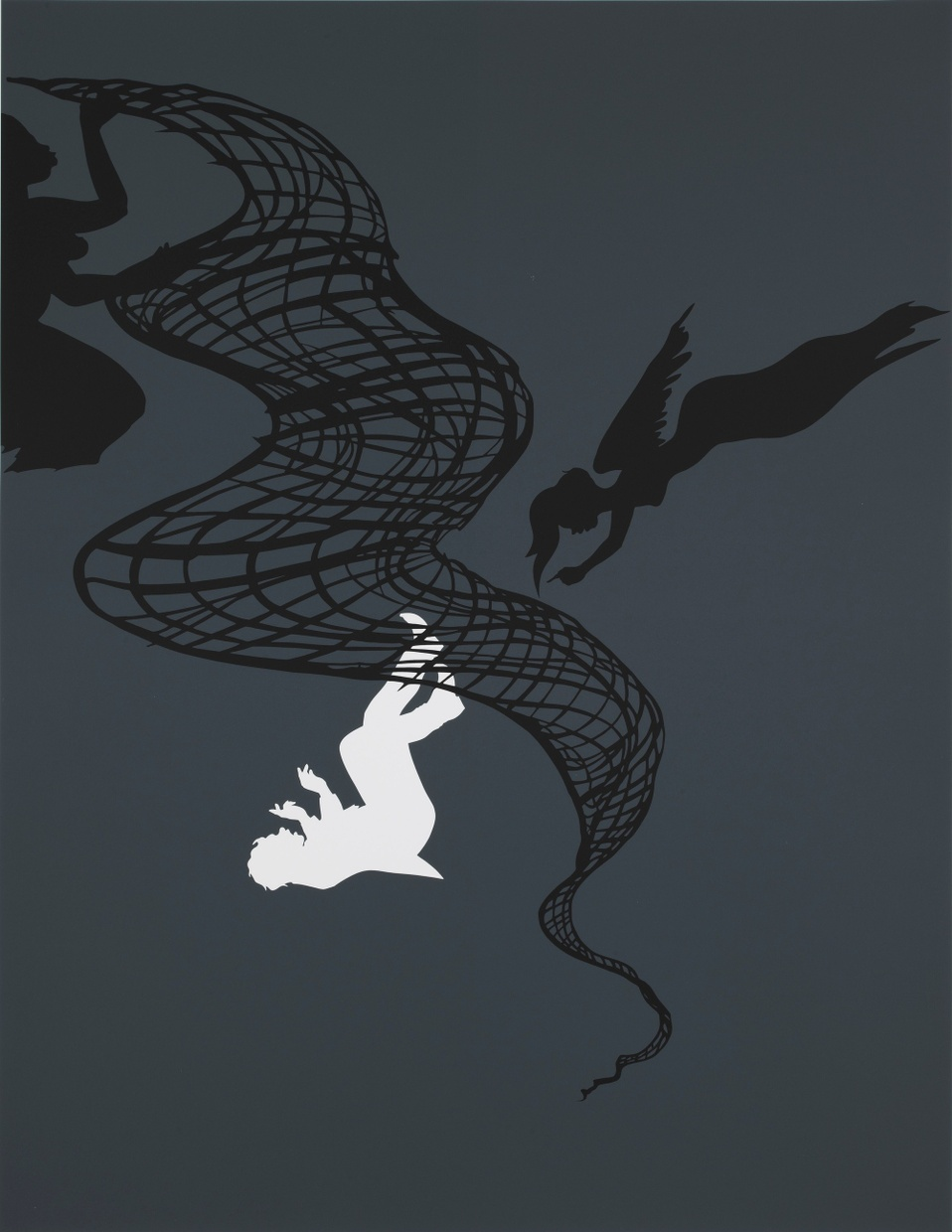 A white silhouette of a boy falling from a black net being shaken out by the black silhouette of a woman. A black silhouette of an angel woman floats to the side of the net.