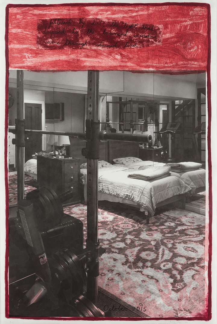 Print combining print combines black-and-white photographic imagery of a bedroom space with weightlifting equipment in the foreground, with a band of red at the top and along the edges, words in black inscribed but hard to read.