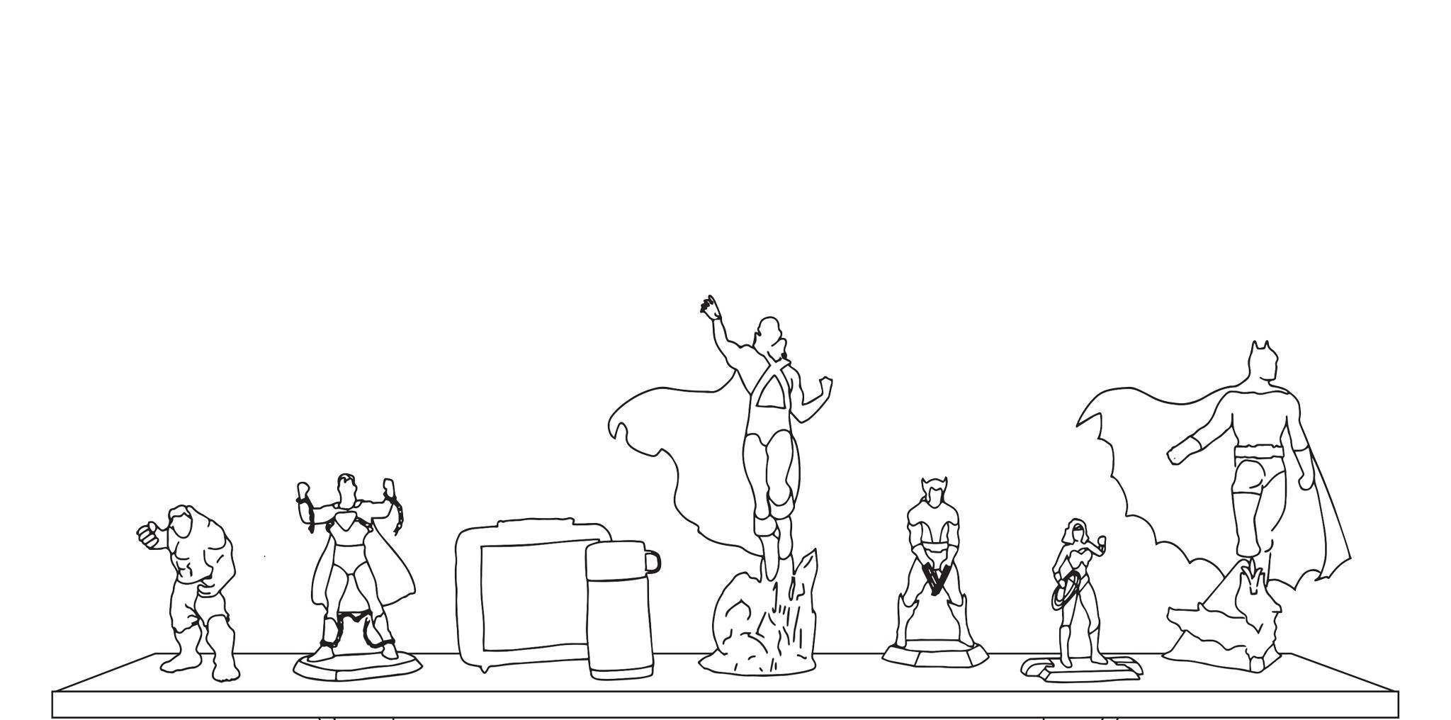 A line drawing of superhero figurines lined up on a shelf.