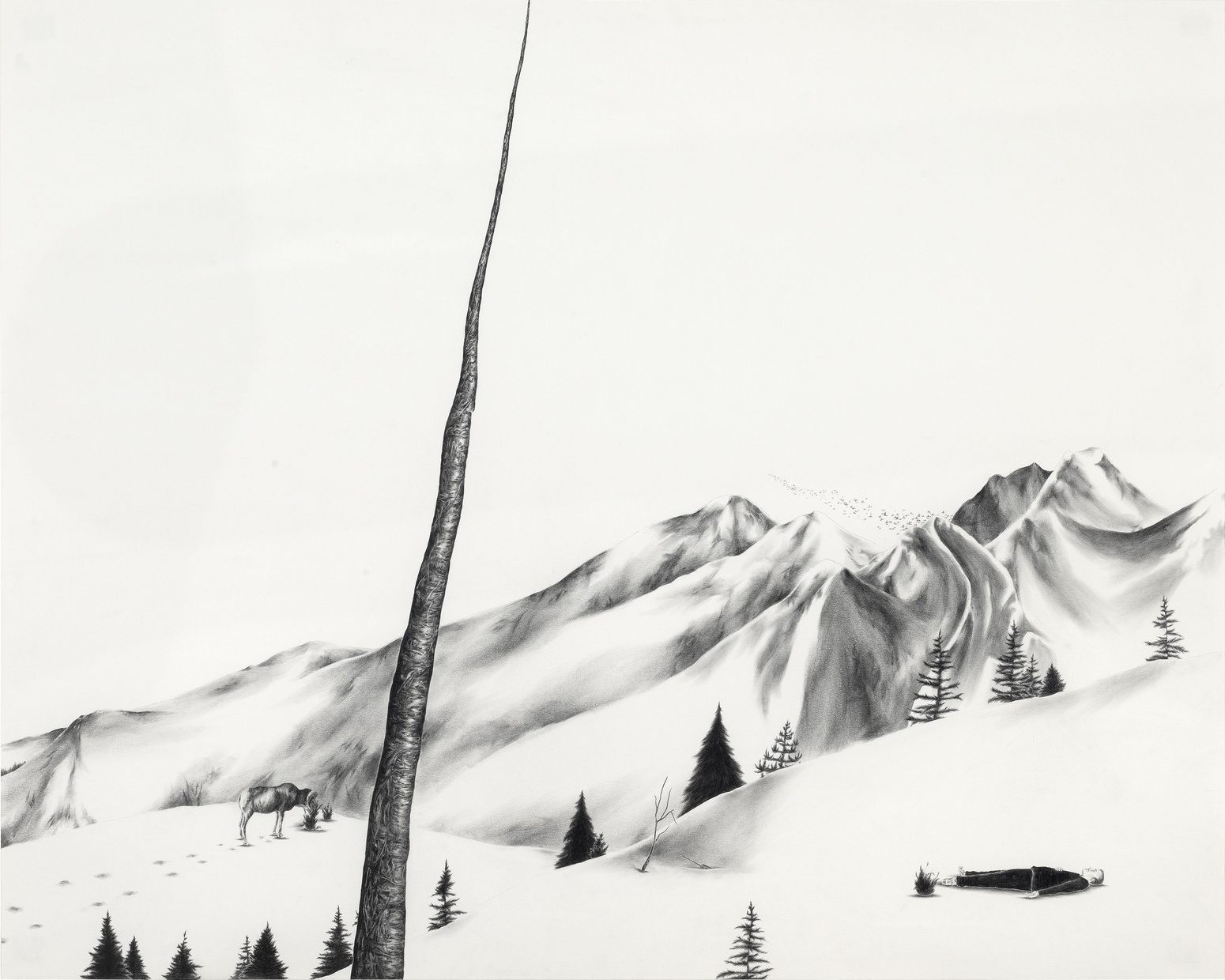 A black and white drawing of a tall, bare tree stretching upward in front of a snowy mountainscape with a goat eating and a man laying in the snow in the background.