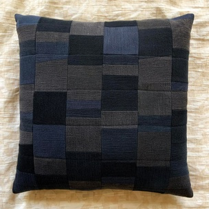 Quilted Patchwork Pillow (Black Denim)