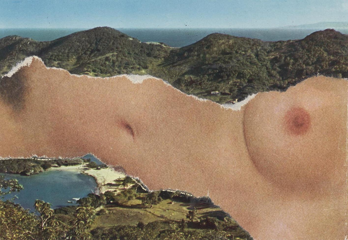 The torso and breast of a nude white individual is collaged horizontally across a hillside near water.