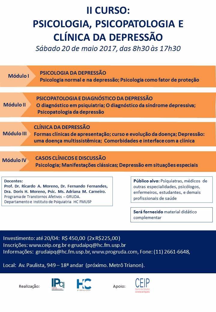 II CURSO PSICOLOGIA, PSICOPATOLOGIA E CLÍNICA DA DEPRESSÃO