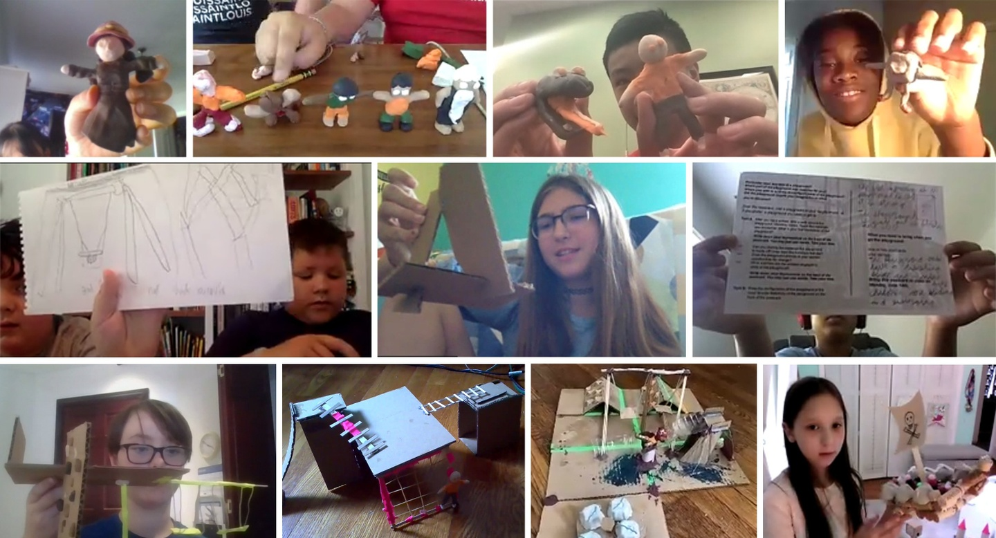 Collage of images from computer screens showing Alberti participants with their clay figures, postcards, and cardboard and stick models. Image 2: A screenshot of a Zoom room during the review and celebration. A mixture of 16 adults and youth are pictured, including one youth with a stick model with tape in the foreground of the image.