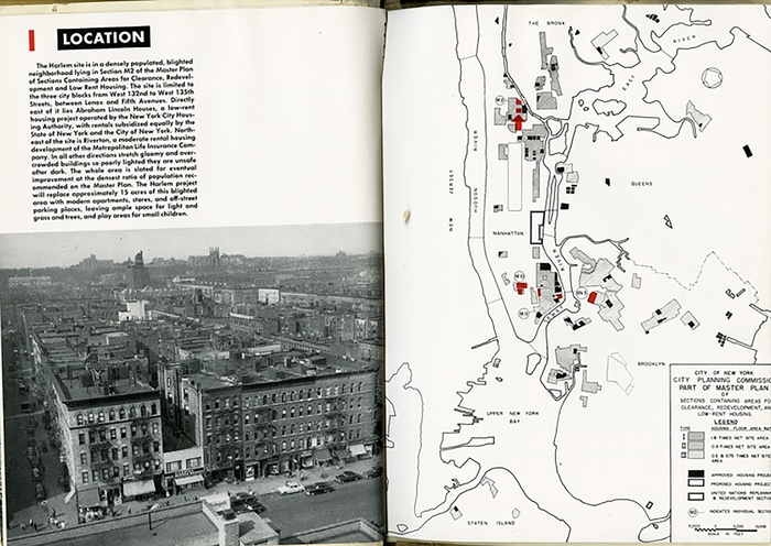 "Fig 1: ""Harlem: Slum Clearance Plan Under Title I of the Housing Act of 1949"" (New York: Committee on Slum Clearance Plans, 1951)."