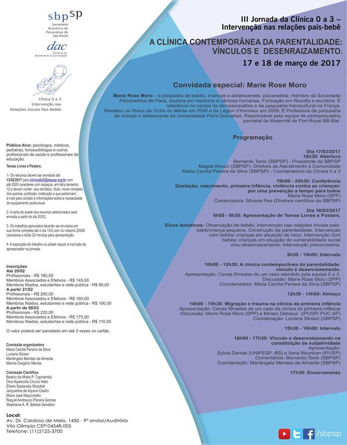 III Jornada da Clínica 0 a 3 – Intervenção nas relações pais-bebê 17 e 18 de março de 2017