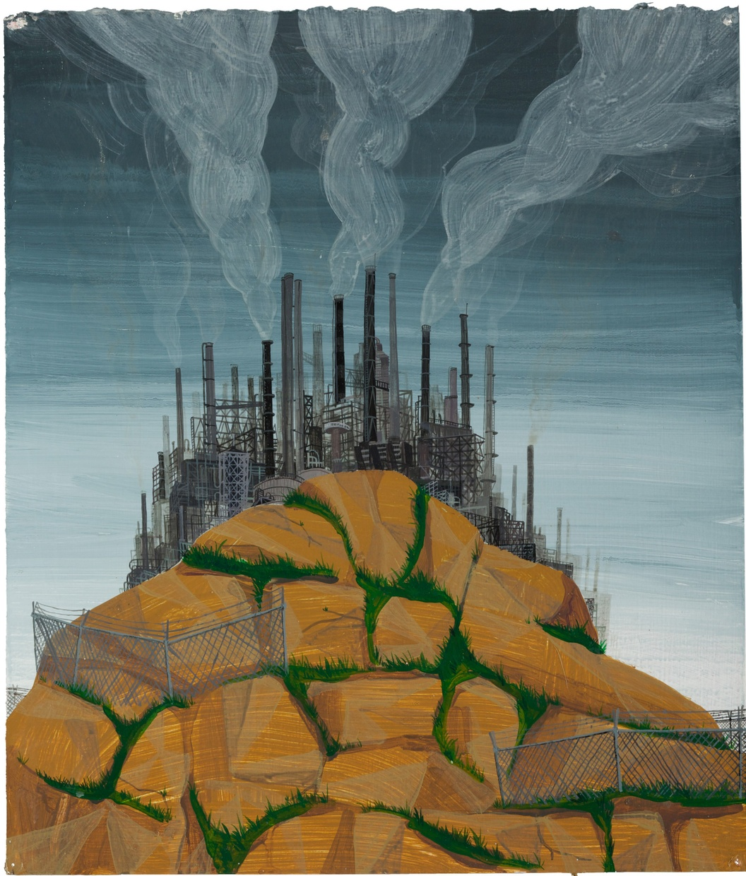 A painting of a large rock hill with brown rocks separated by green grass with a crowded mass of factory pipes and chimneys releasing clouds of smoke at the distant top of the rock hill.