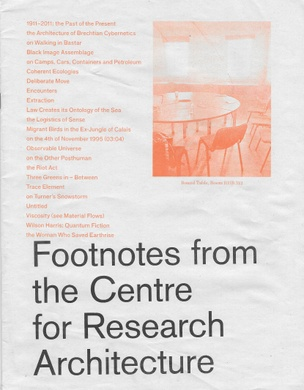 Footnotes from the Centre for Research Architecture