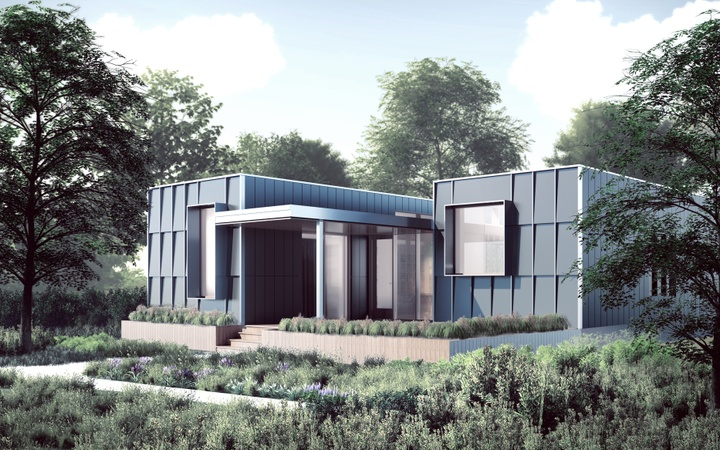 Rendering of the exterior facade of a modular home, with two rectangular wings with rectangular panels framing the entrance. Lush landscaping is in front of the home, with trees to the sides.