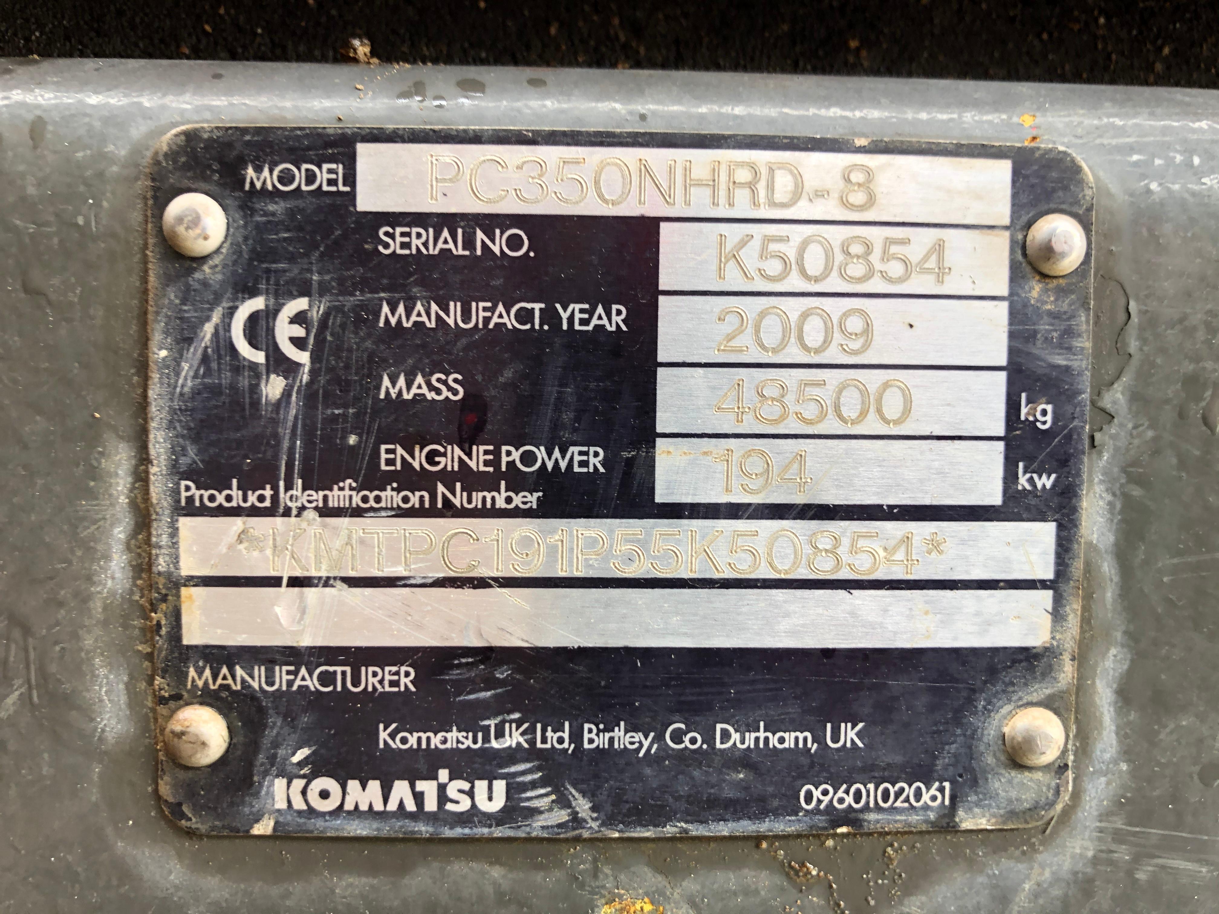 Used 2009 Komatsu PC350 NHRD-8 For Sale