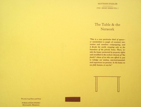 "Matthew Stadler's ""The Table and the Network"" Pre-Release & Closing for Learn to Read Art Printshop Residency"