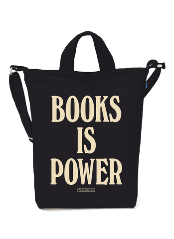 BOOKS IS POWER Tote (Cream on Black)