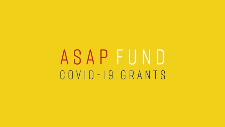 """The words """"ASAP FUND"""" appear above the words """"COVID-19 GRANTS"""" on a yellow background."""