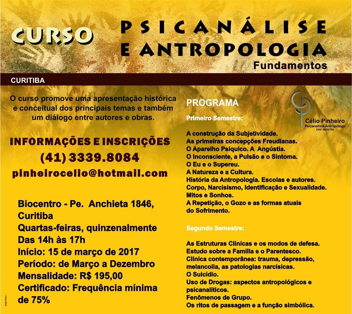 Curso PSICANÁLISE ANTROPOLOGIA - FUNDAMENTOS