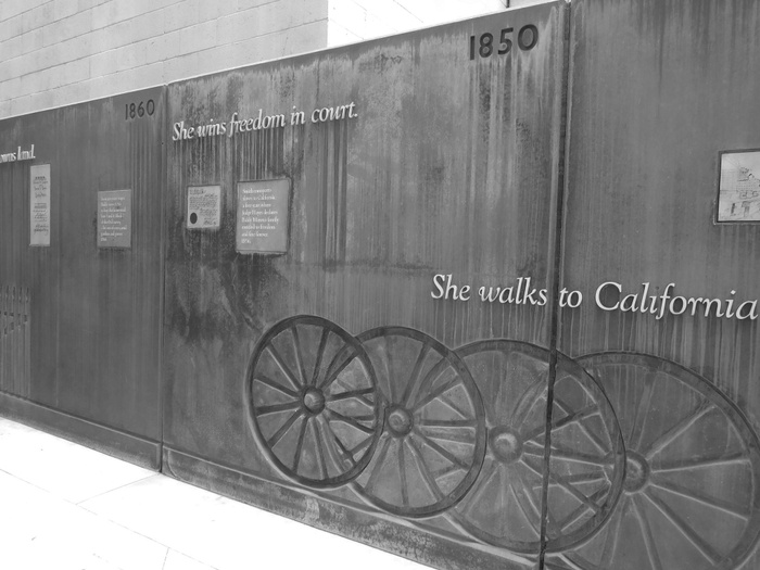 FIG. 1: Biddy Mason: Time and Place, by Sheila de Bretteville, 1991, Los Angeles. The Power of Place developed a multipart project recognizing Biddy Mason, who was born into slavery in Mississippi, won her freedom in California, and became a community leader. Photograph by Don Barrett, Flickr/Creative Commons.