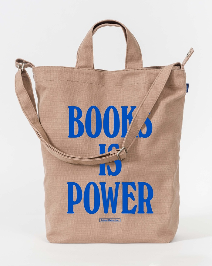 BOOKS IS POWER Tote (Royal Blue on Fawn)