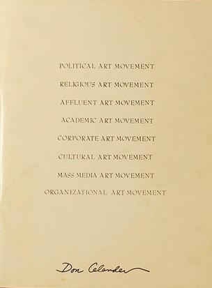 Political Art Movement / Religious Art Movement / Affluent Art Movement / Academic Art Movement / Corporate Art Movement / Cultural Art Movement / Mass Media Art Movement / Organizational Art Movement