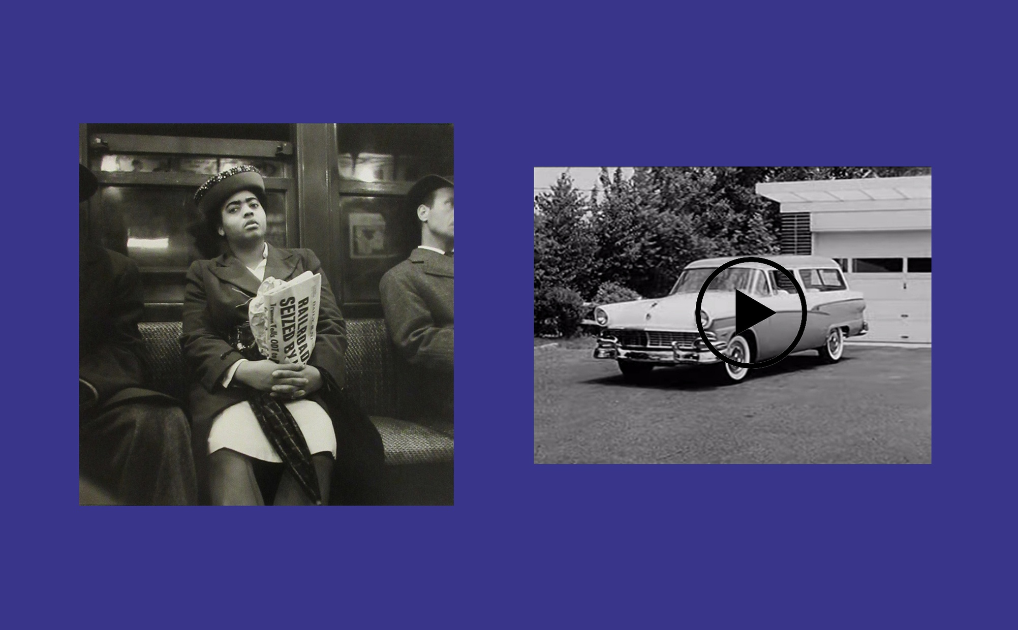 Two images side by side, one image is a black and white photograph of a dark-skinned woman sitting on a subway seat looking tired, and the other image is a black and white film still of a 1950s station wagon parked in front of a garage.