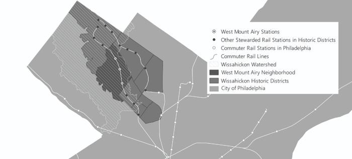 FIG. 2: Stations under the protection of West Mount Airy Neighbors between 1964 and 1984 were surrounded, throughout that period, by stations stewarded by station tenants and neighboring property owners in other communities within the Wissahickon watershed: Chestnut Hill, Germantown, and East Mount Airy. Map courtesy of the author.