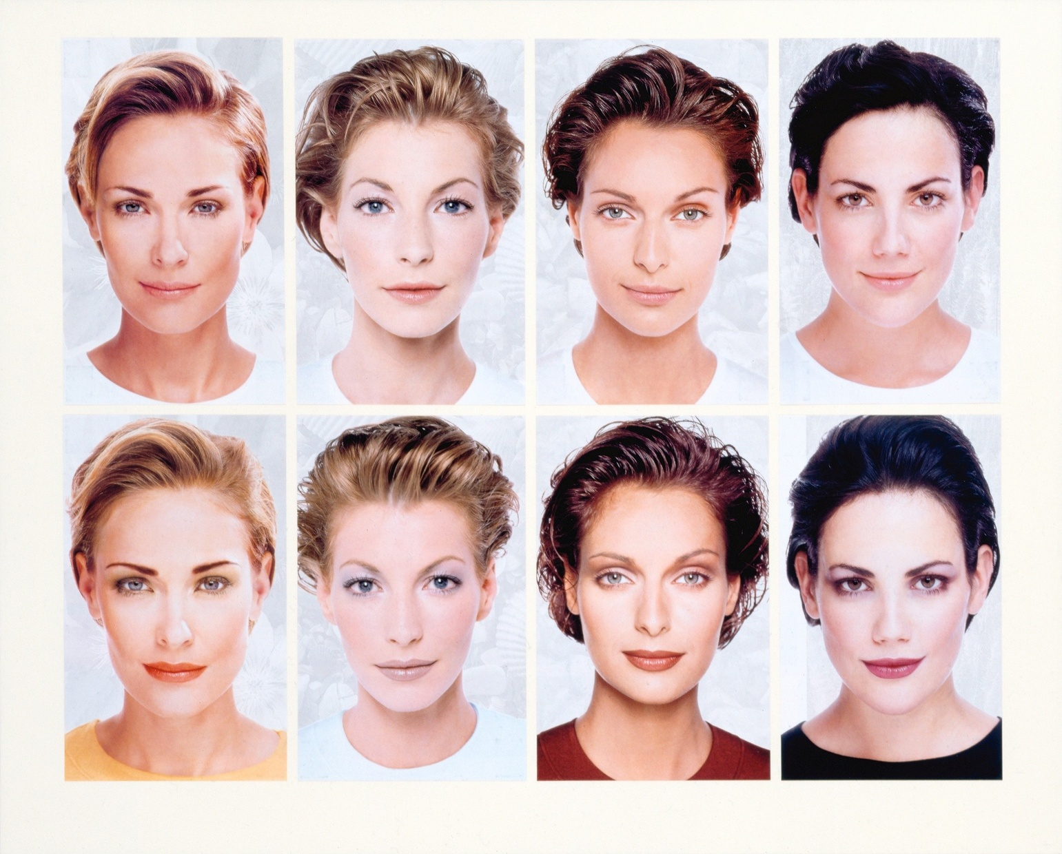 A grid of eight photographs of light-skinned woman not wearing makeup in the top row and then the same women wearing makeup in the bottom row.