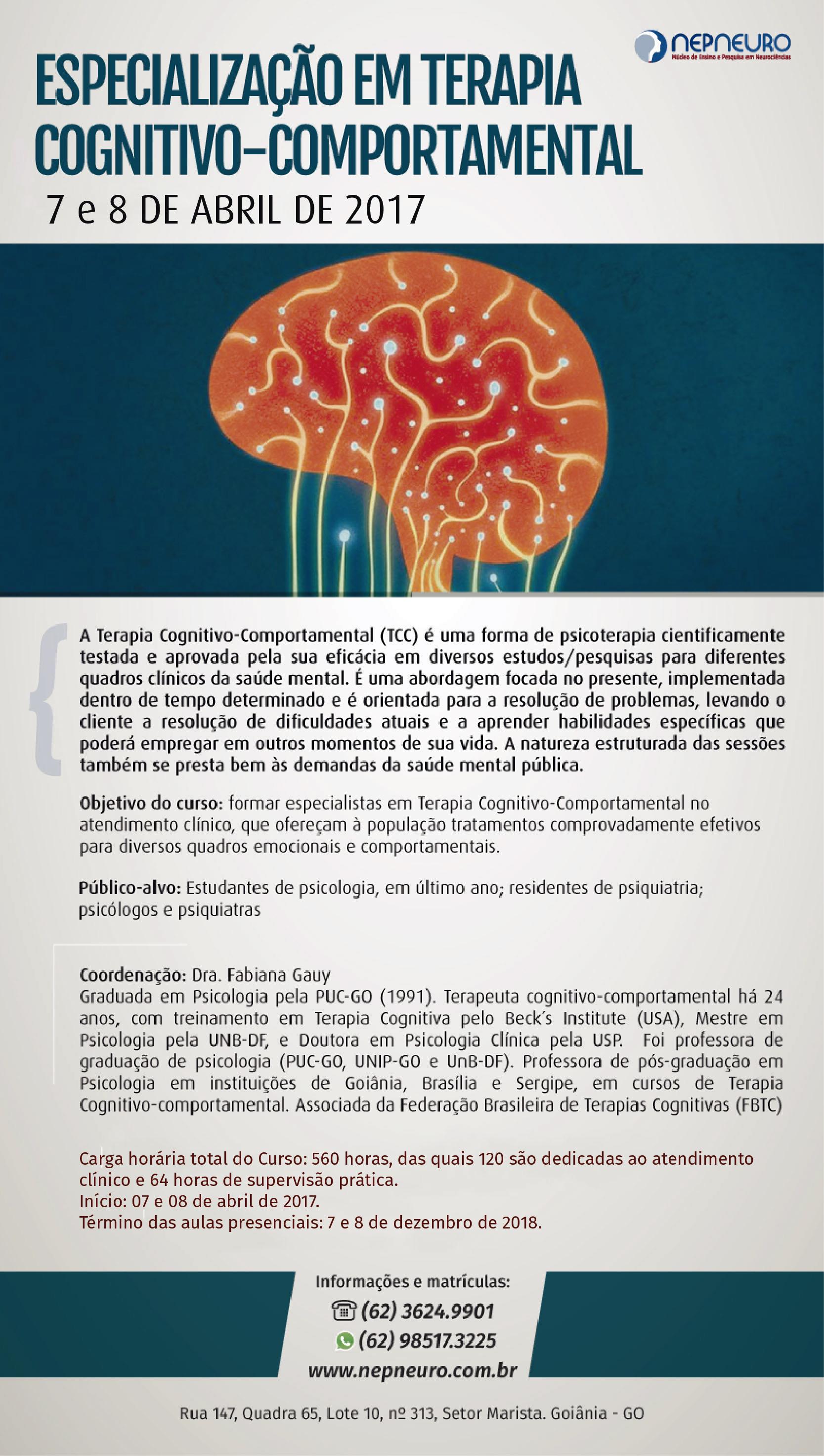 Especialização em Terapia Cognitivo-Comportamental - TCC