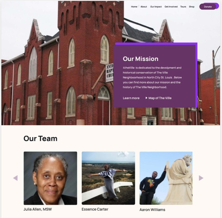 """Screenshot of a mockup of a website with a page titled """"Our mission"""" with images of people."""