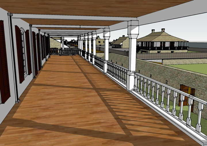 Sketchup render of a late 18th century St. Louis perspective view from the second floor of a farm building's veranda
