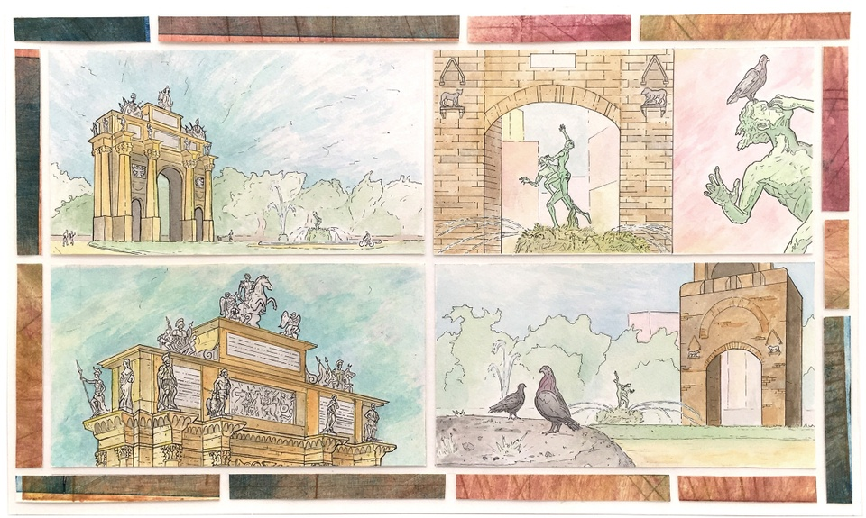 Grid of several watercolor vignettes of Florence city architecture and statuary.