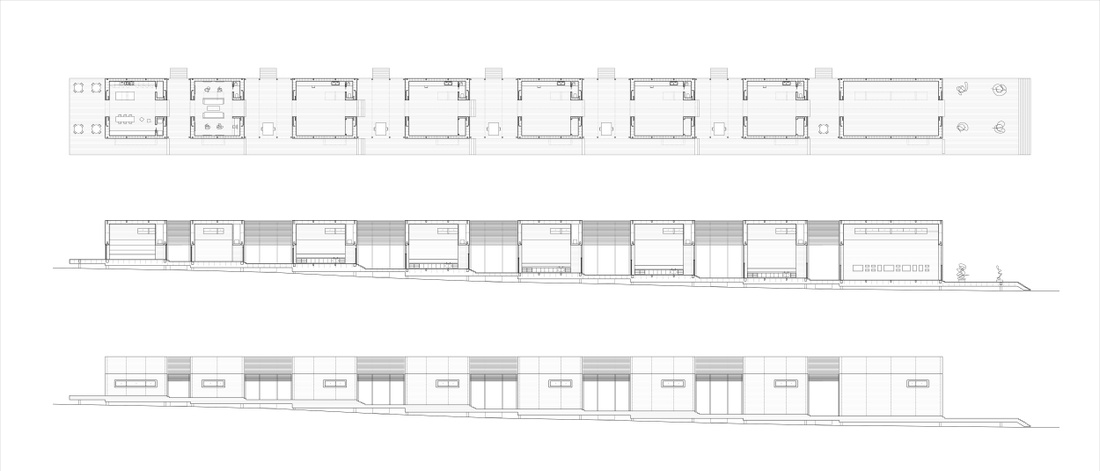 Plan, section, and elevation drawing