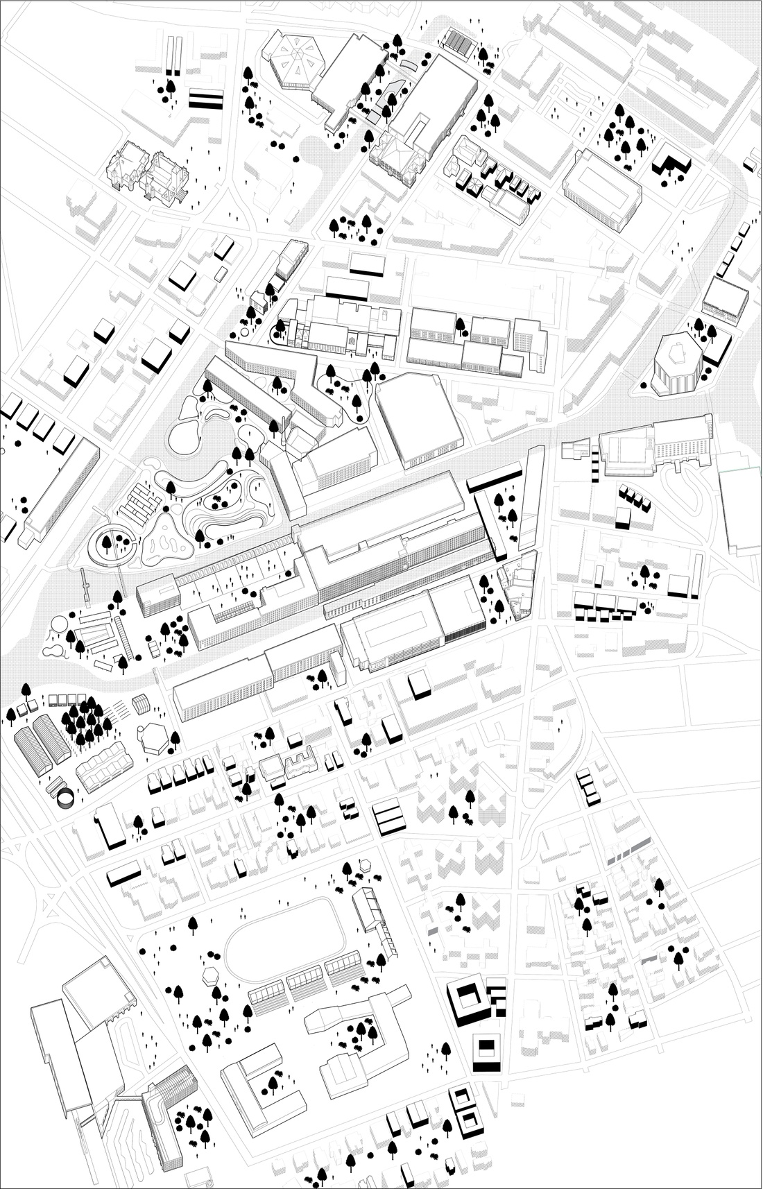 Axonometric view of downtown Lowell