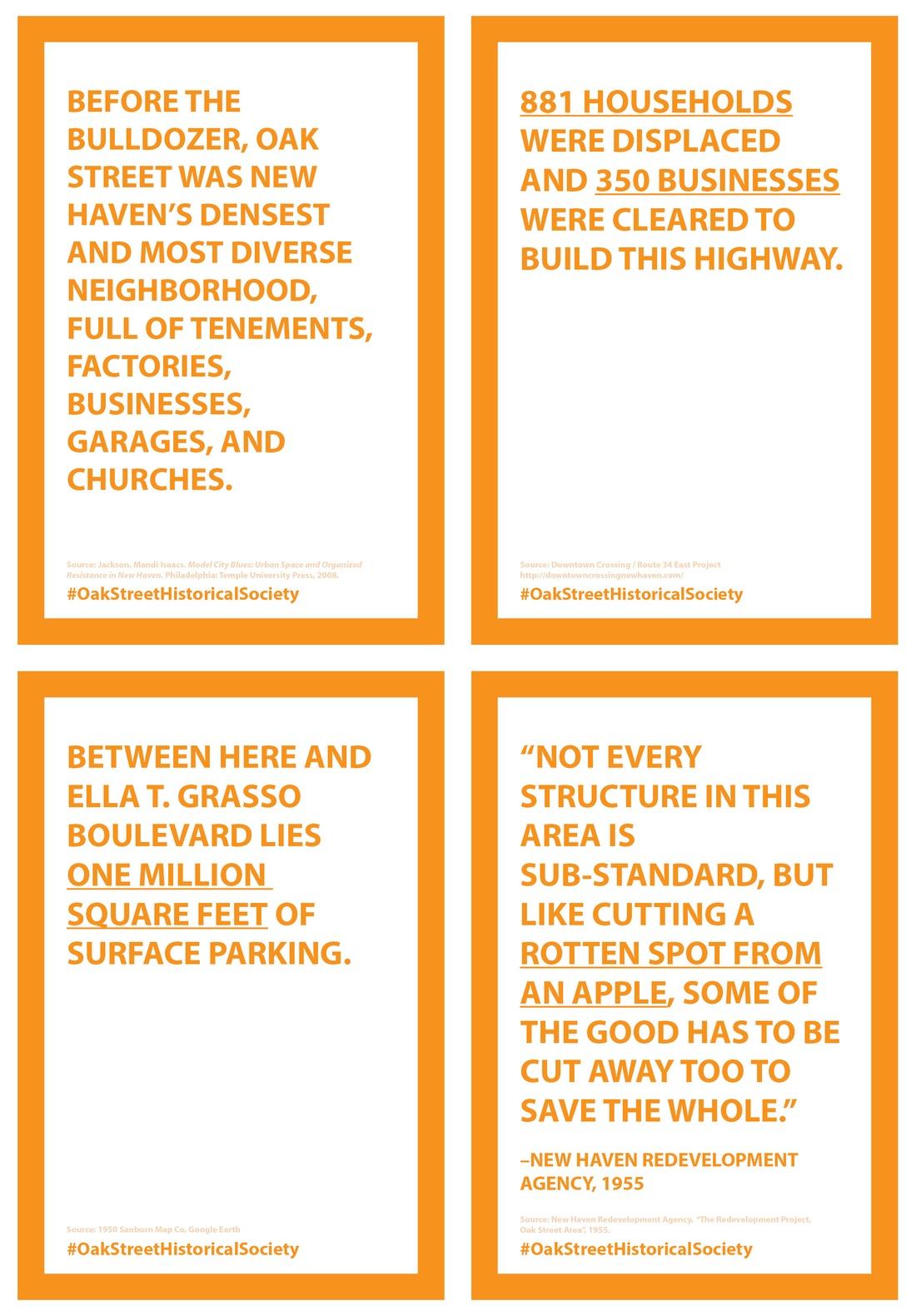 Four posters commemorating Oak Street