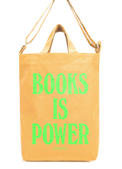 BOOKS IS POWER Tote (Fluorescent Green on Apricot)
