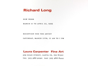 Richard Long : New Work, March 11 to April 22, 1995 [Pair of Invitation Cards]