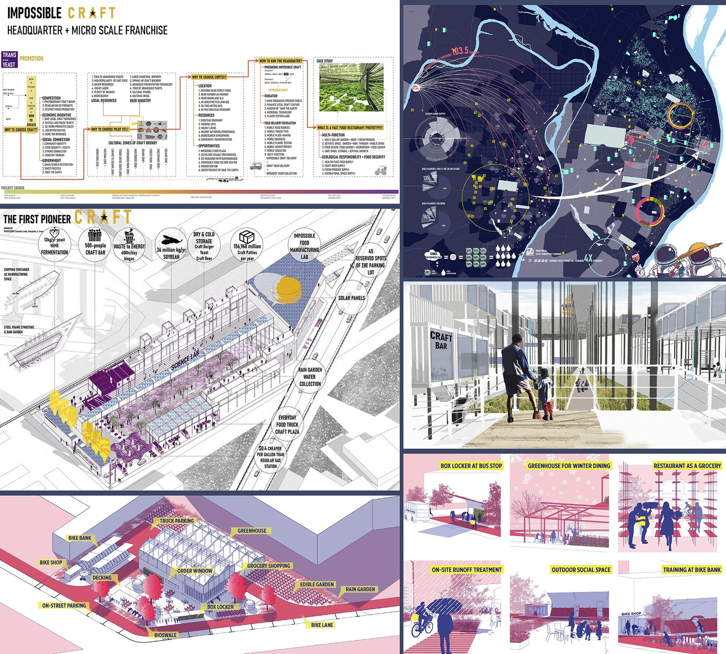 Composite of five images, featuring framework plans and renderings for a design proposal.