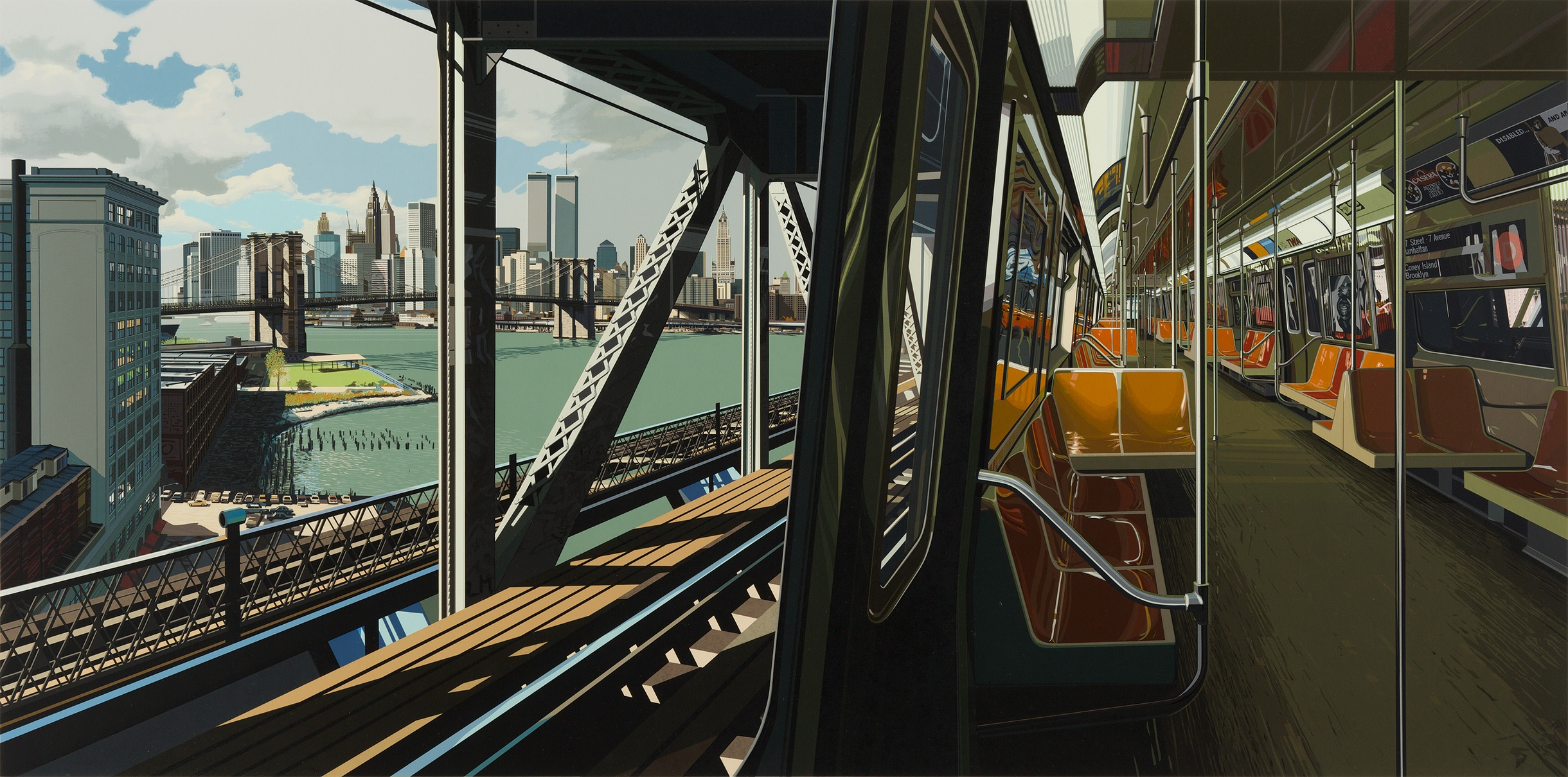 A realistic painting looking at the New York City skyline from the inside of an empty subway car. The train is crossing the East River, and you can see the water. The twin towers are still standing.