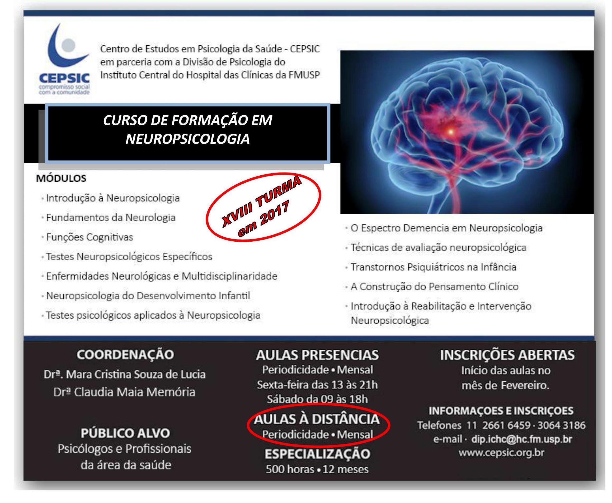 Curso de Formação em Neuropsicologia HCFMUSP e CEPSIC/2017