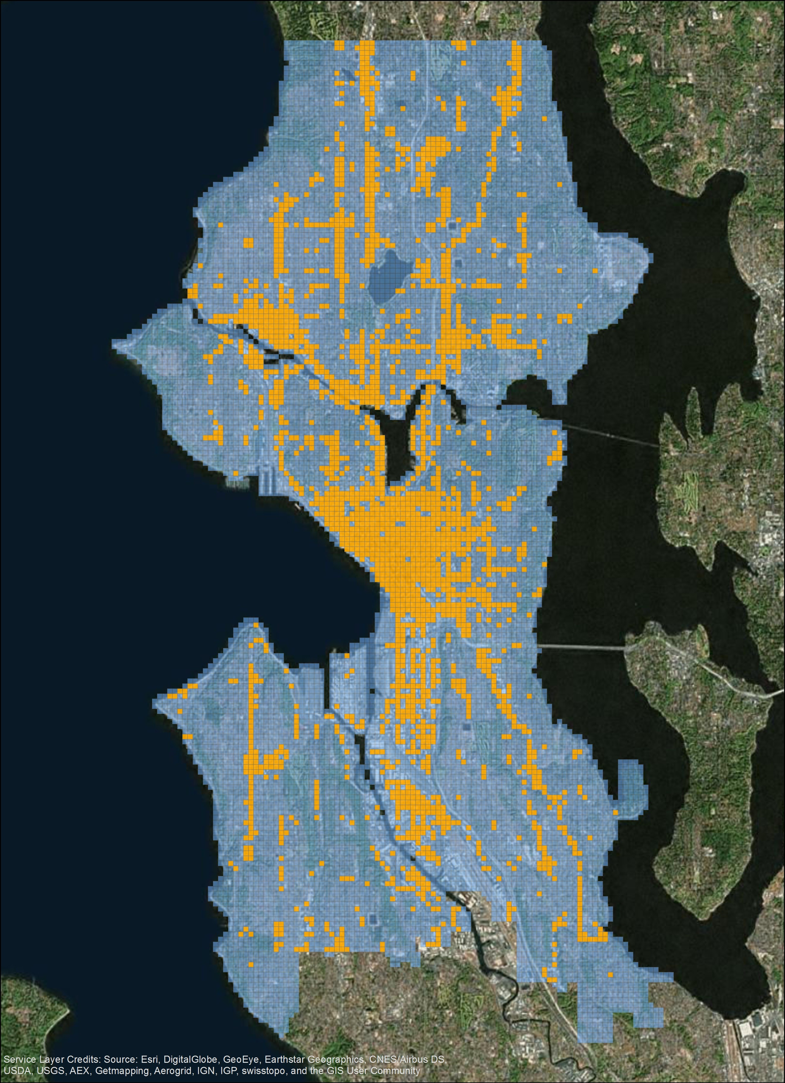 1dcb40cea39c8 FIG. 2  A 200-meter-by-200-meter grid lattice over the city of Seattle.  Orange squares indicate commercial or mixed-use areas  blue squares  represent all ...