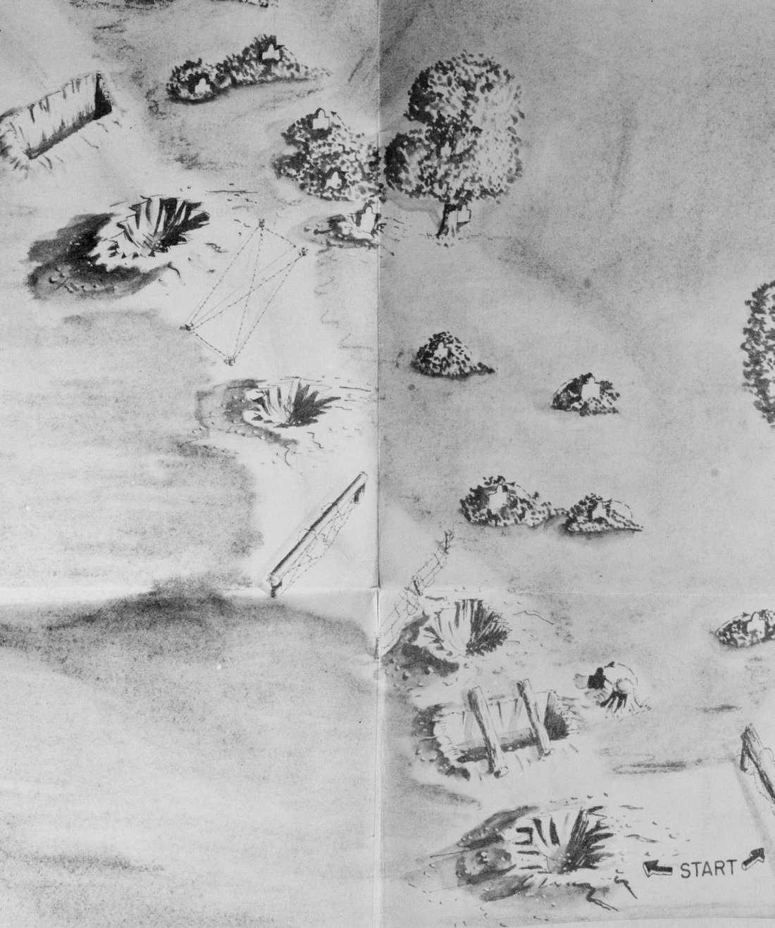 """Detail of """"Close Combat Course""""; Sketch to Accompany Inclosure 2 in 353.01/61–GnGTC (2-4-43); H.Q. A.G.F. to all Commanding Generals (February, 4 1943) """"Subject: Special Battle Courses""""; Training Directives; Background Files: """"Military Training in WWII"""" 1939-1945; Record Group 319, National Archives Building, College Park, M.D."""