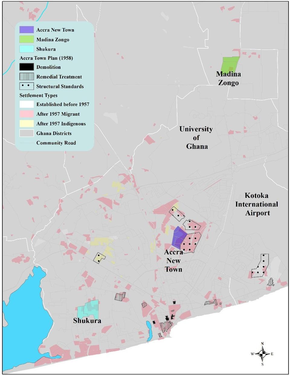 Map of informal settlements in Accra, Ghana.