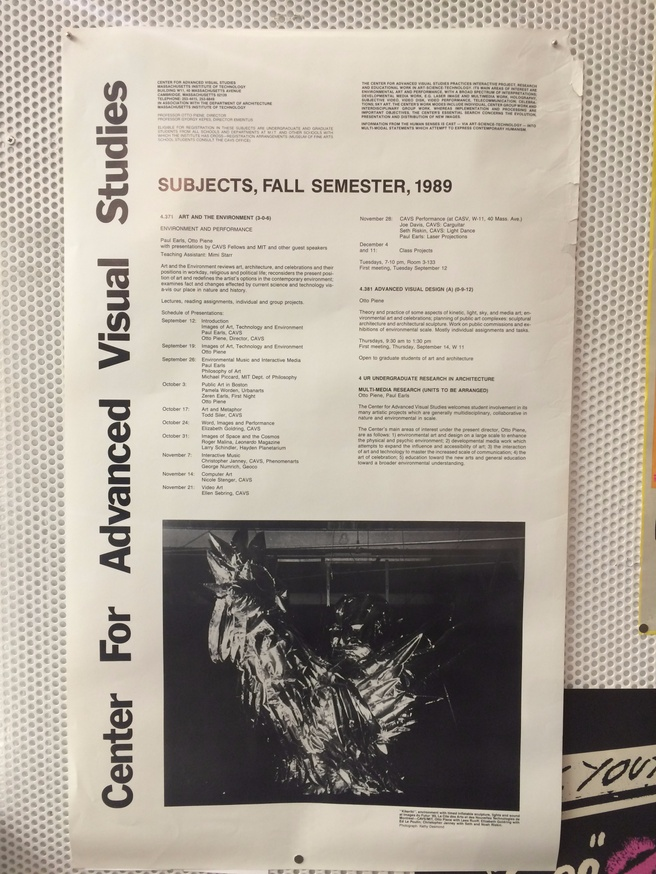 Center for Advanced Visual Studies : Subjects, Fall Semester, 1989