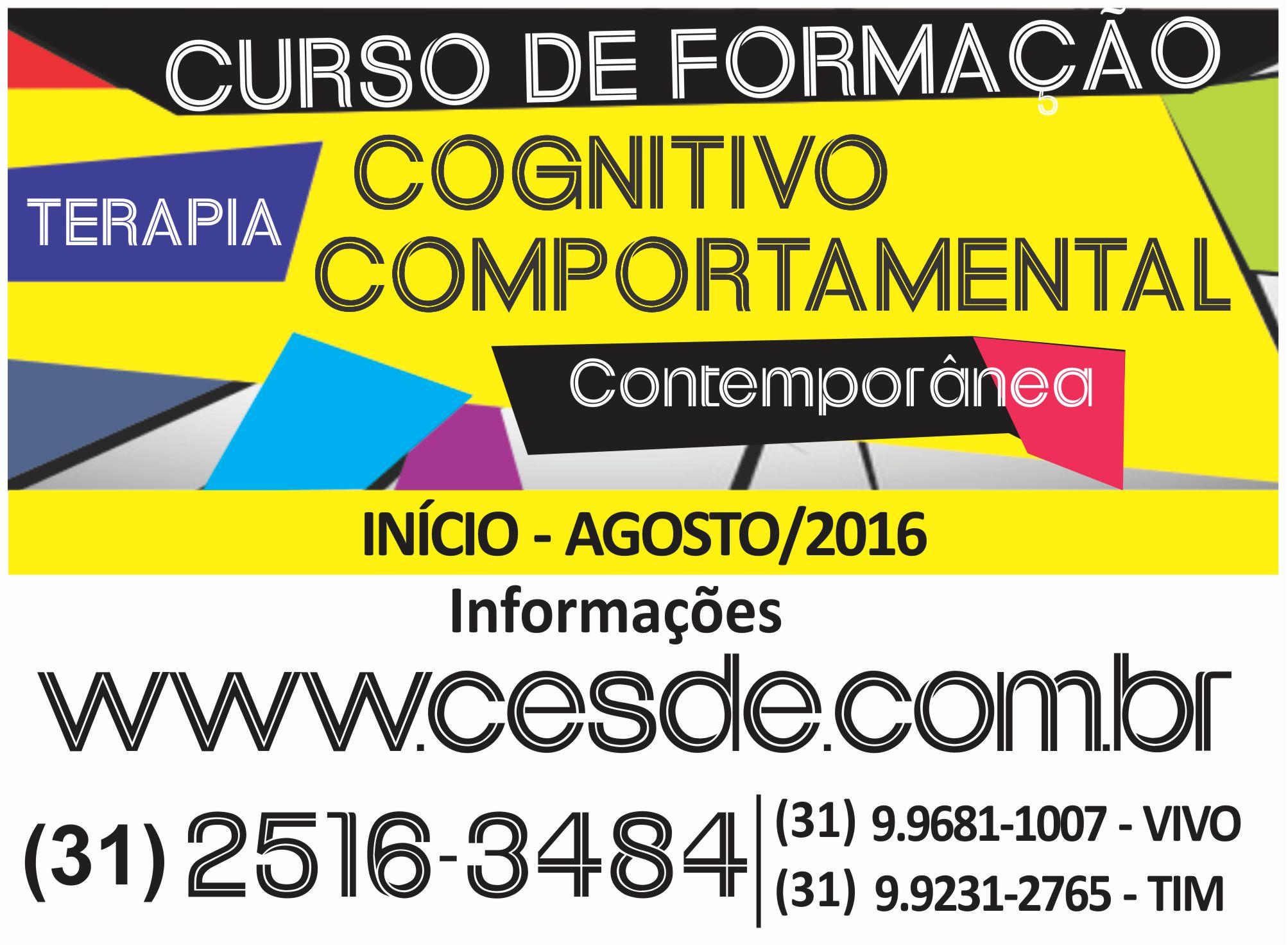 Formação em Terapia Cognitivo-comportamental Contemporânea em Belo Horizonte