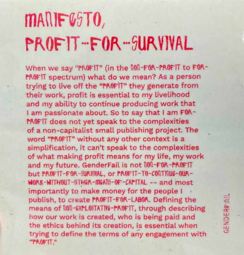 Manifesto, Profit-for-Survival Sticker